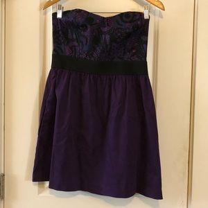 🔴ECOTE Purple Embroidered Tube Dress Large